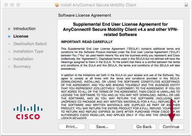 software installation license agreement window, highlighting the Continue button