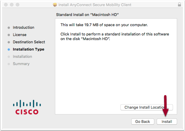 software installation window, highlighting the Install button