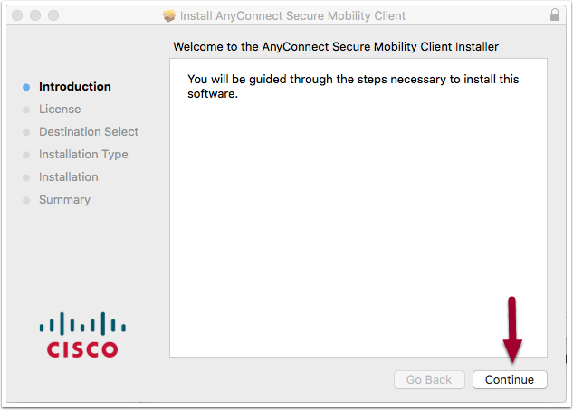 software installation window, highlighting the Continue button