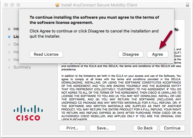 software installation license agreement window highlighting the Agree button
