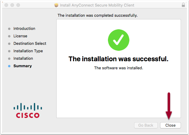 software installation window showing the message the installation was successful, highlighting the Close button