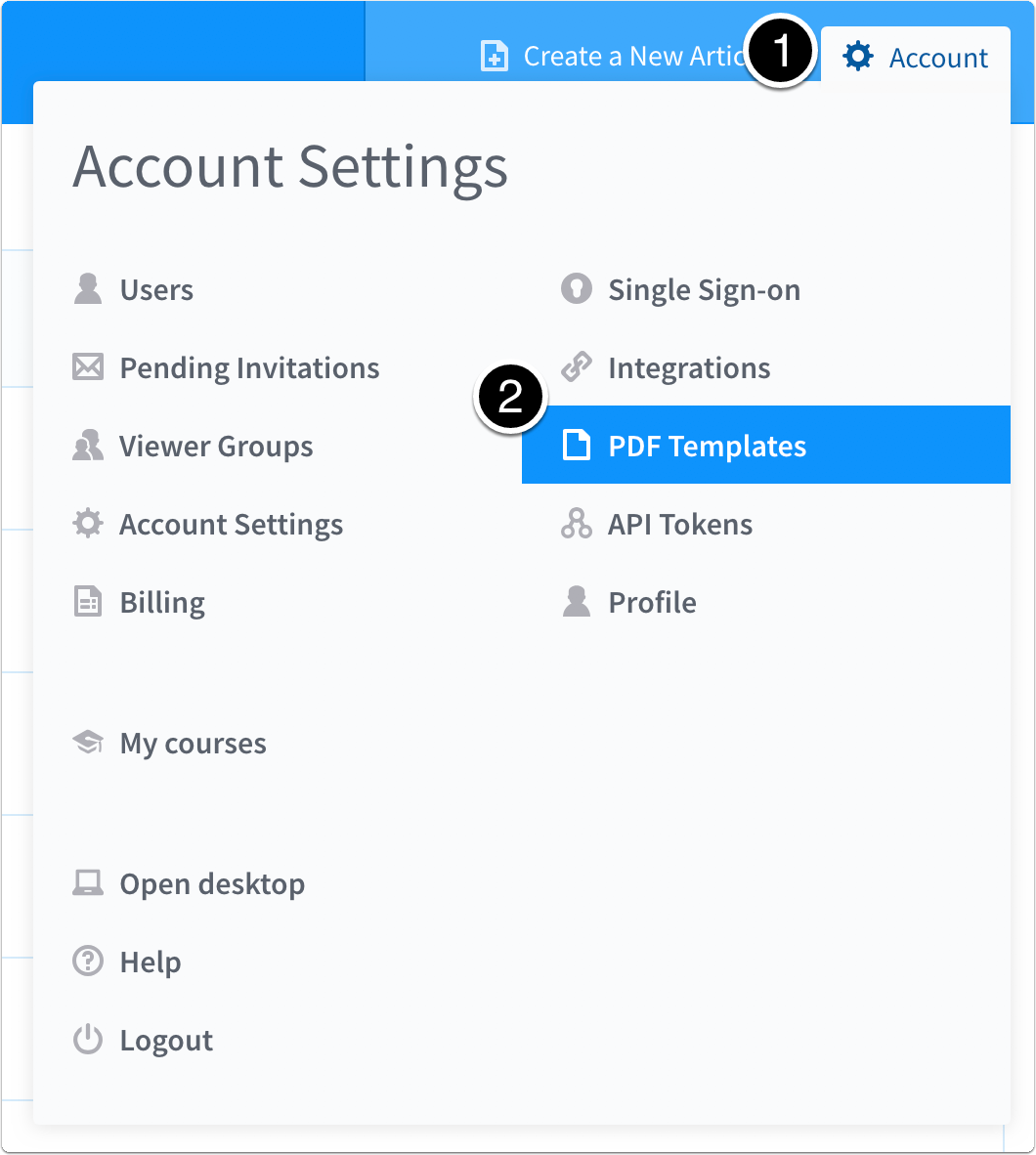 Account > PDF Templates
