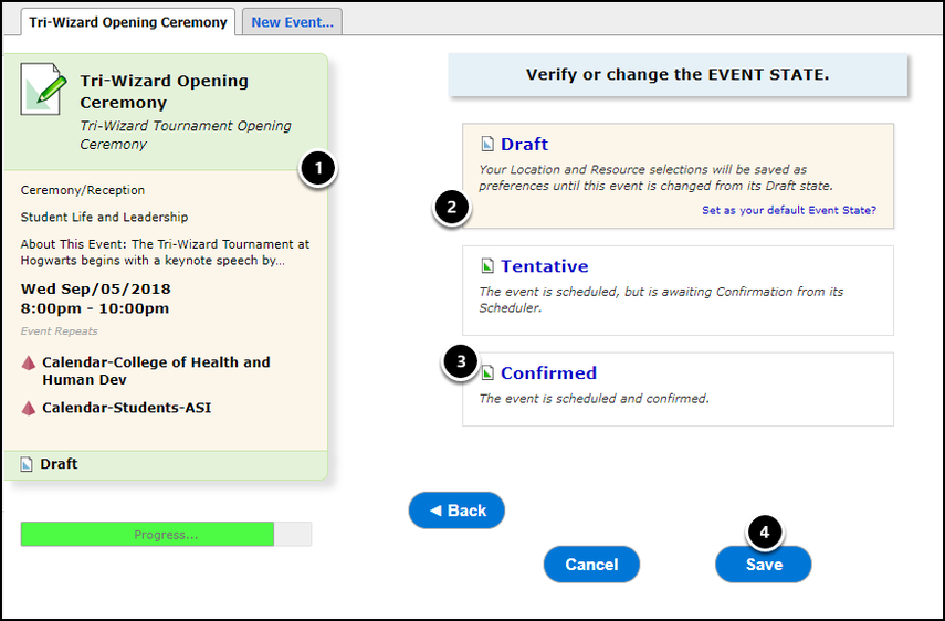 Verify event state