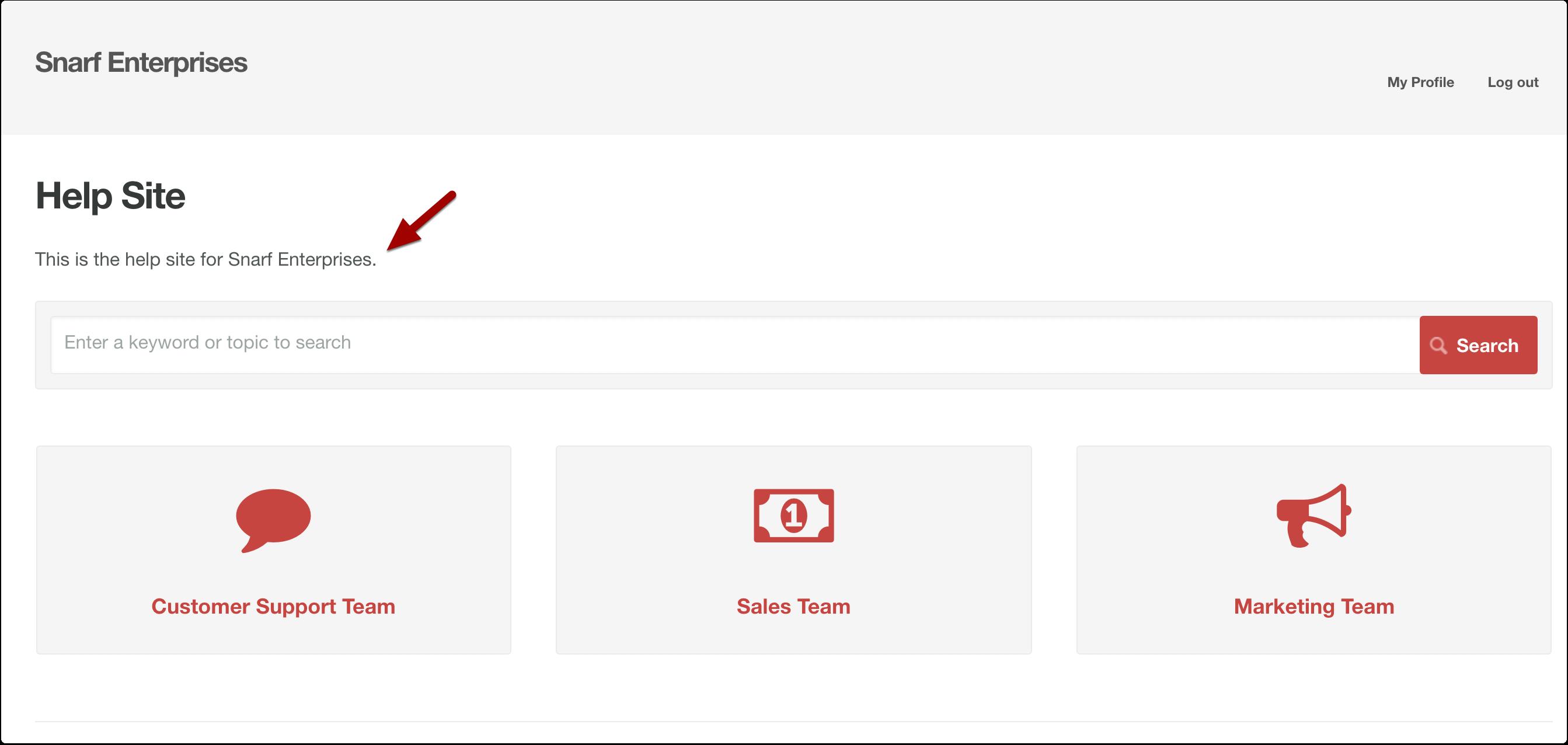 Where the site description appears