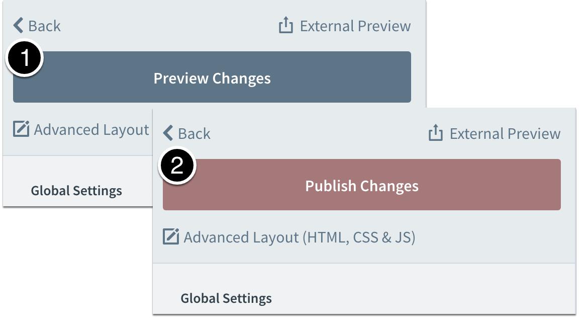 Preview then publish chanages
