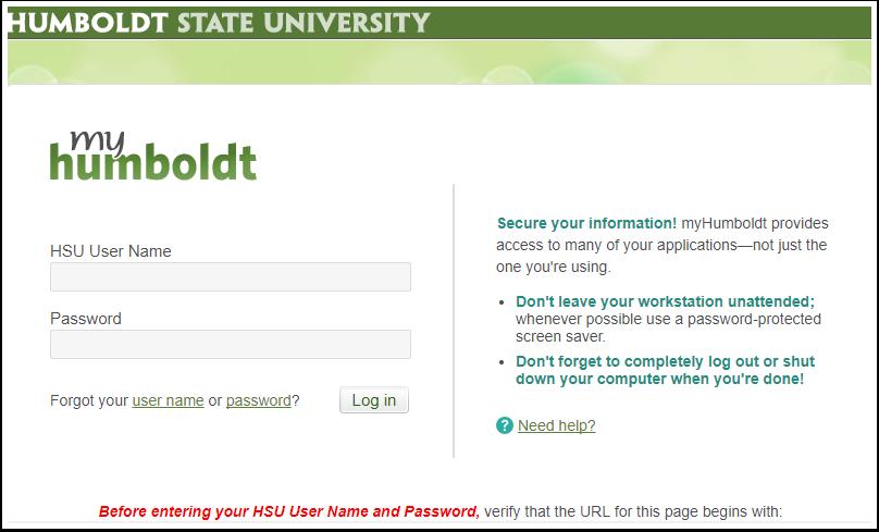 myHumboldt log in screen