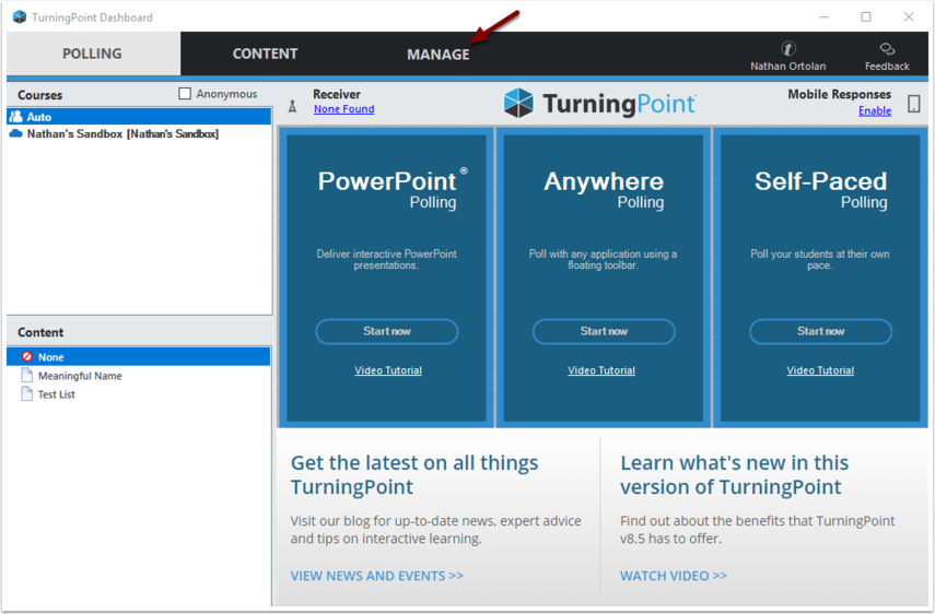 TurningPoint Dashboard Manage Tab button