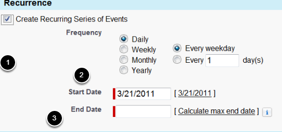 Create Recurring Series of Events