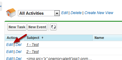 Edit An Event From The Activities List View