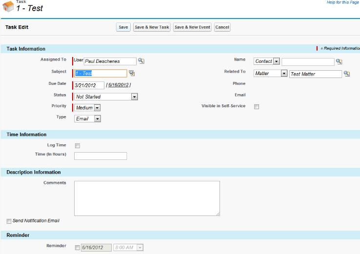 Task Edit page