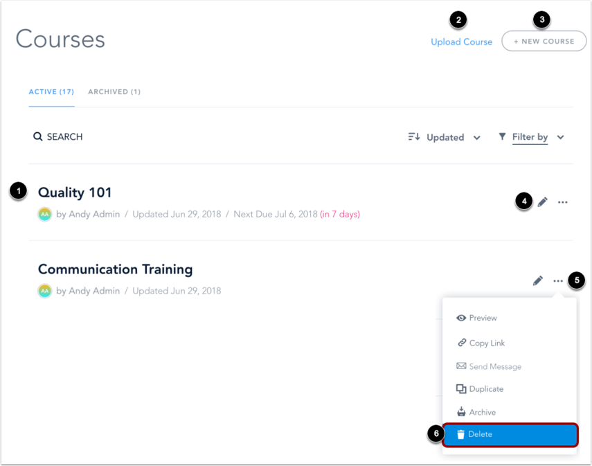 Manage Courses