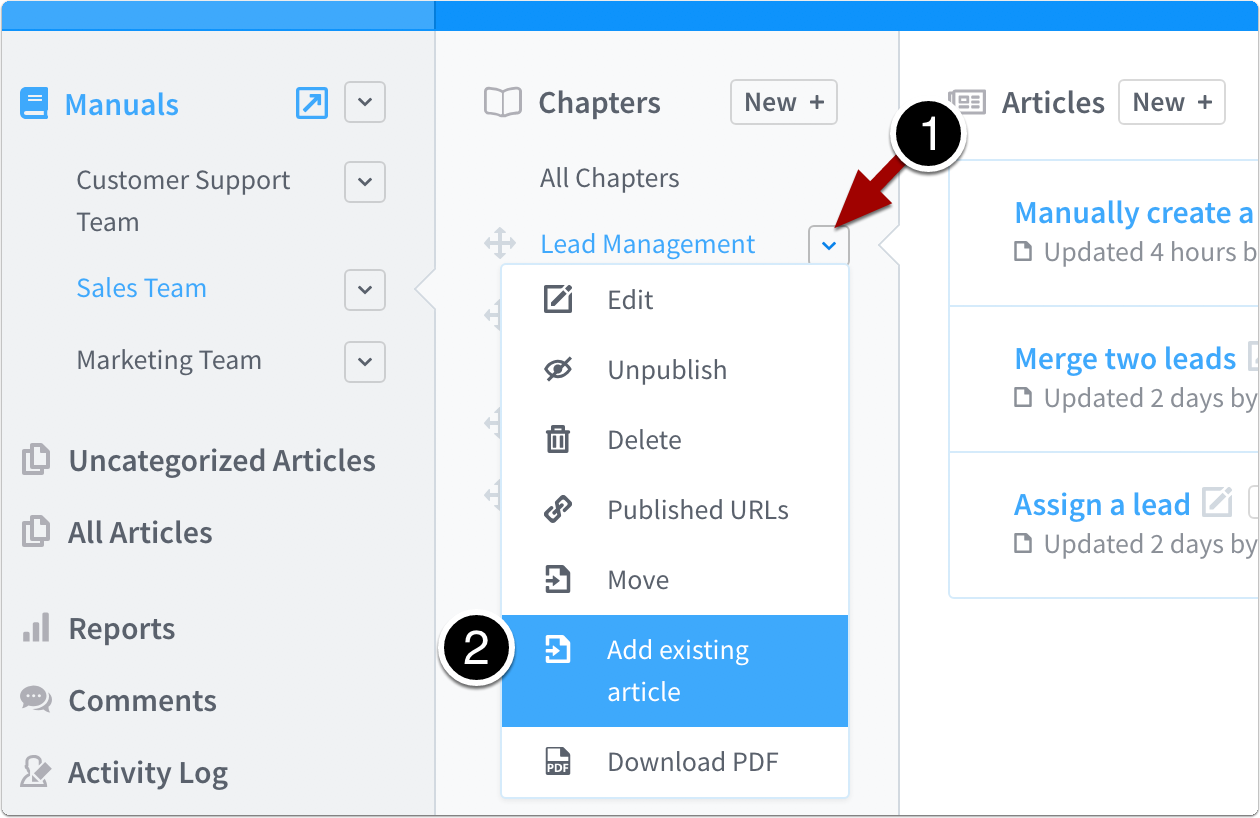 select add existing article