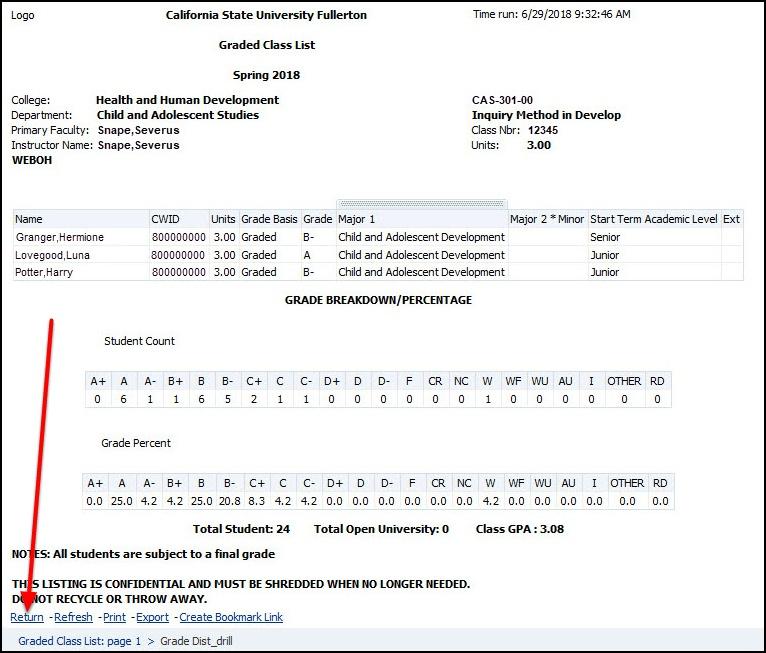 Graded Class List Detail