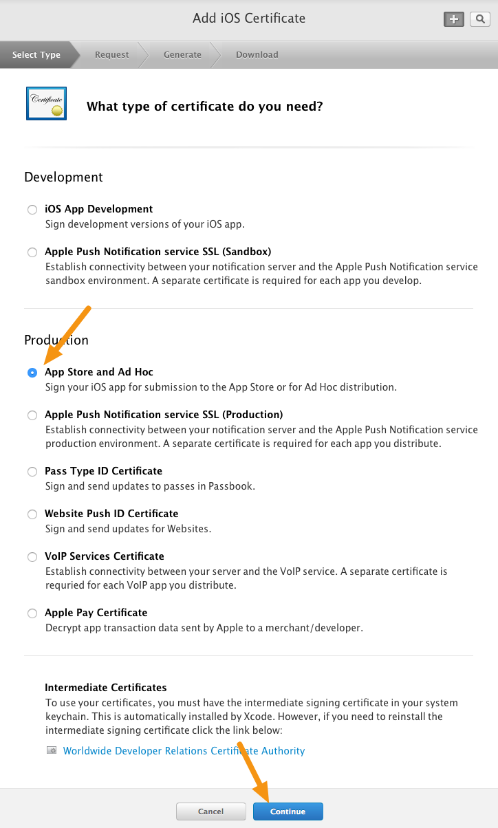 "Select ""App Store and Ad Hoc"" from the Production options and click ""Continue."""