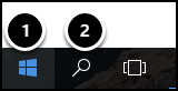 Start and Search icons in taskbar