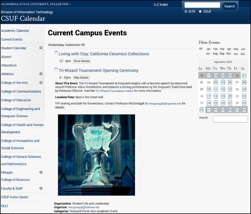 Event published on campus calendar