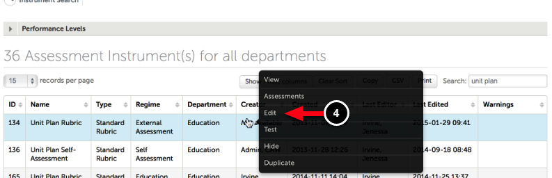 Step 2: Edit Assessment Instrument