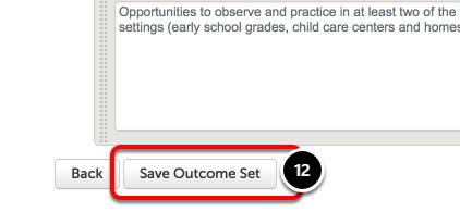 Step 6: Save Outcome Set