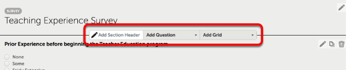 Add Headings, Questions, and Grids