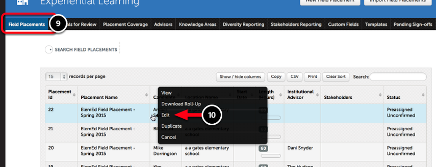 Step 5: View and/or Edit Field Placements