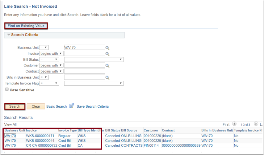 Find an Existing Value tab with Search Results example