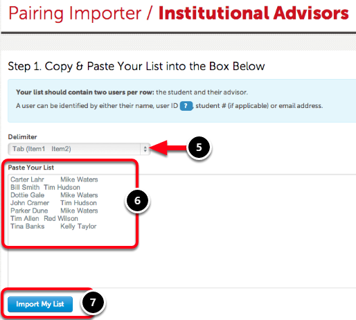 Step 4: Import Student/Advisor Pairings