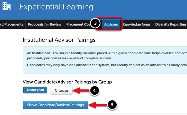 Step 2: View Candidate-Advisor Pairings