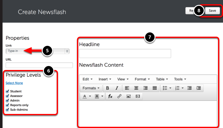 Step 3: Enter Newsflash Content