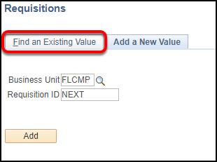 Add/Update Requisitions screen