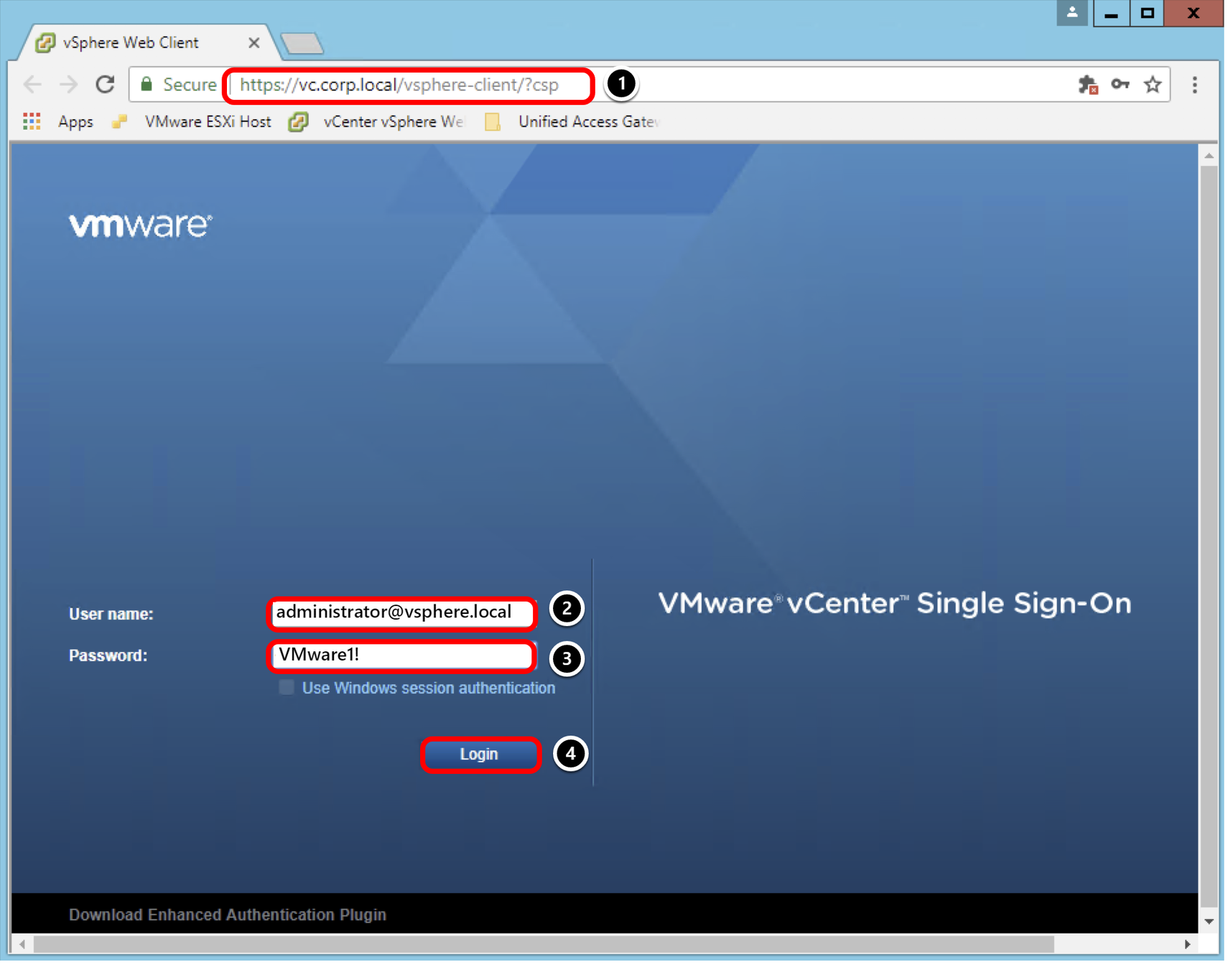 Authenticate to the vCenter vSphere Web Client