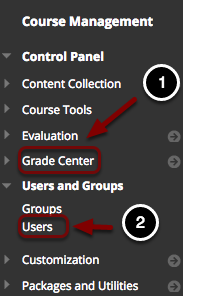Image of the Blackboard control panel opened on Users and Groups with Users outlined.