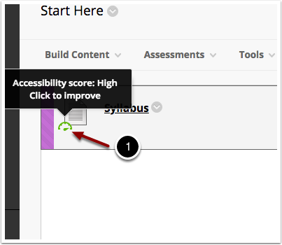 screen shot of item in Blackboard Learn with an accessibility indicator of High and a message to click to improve