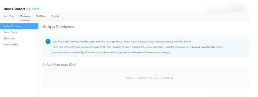 """Click on the """"Features"""" tab to see a list of all In-App purchases associated with your app (or create your first one)"""