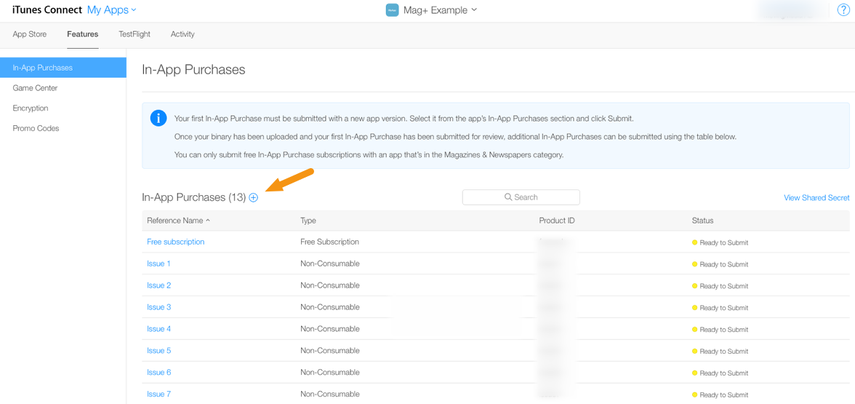"""Click on """"+"""" to create a new In-App purchase."""