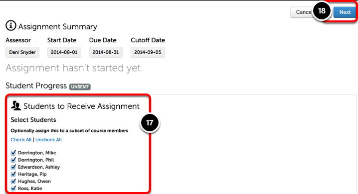 Step 6: Select Students for Assignment