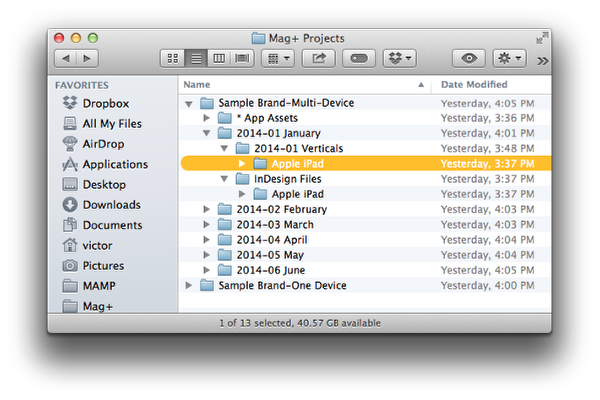 In the Verticals folder, create a subfolder for the first device you are designing.