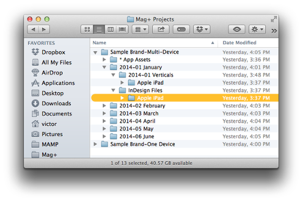 In the InDesign Files folder, create a subfolder for the first device you are designing.