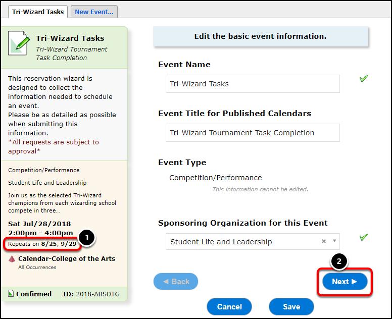 Edit event information