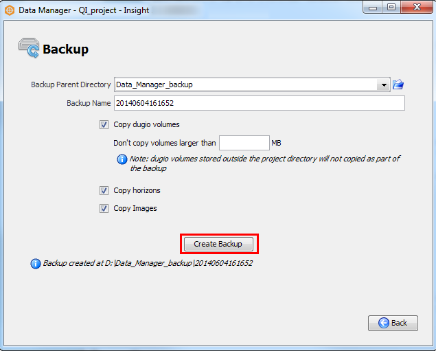 Data Manager manual backup