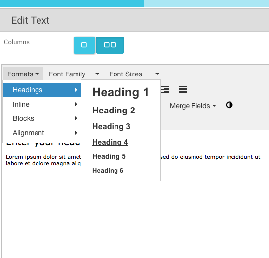 7. How can I change the editor headings formats for 1-6 .....