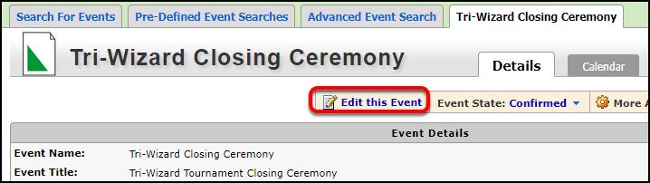 Event info screen