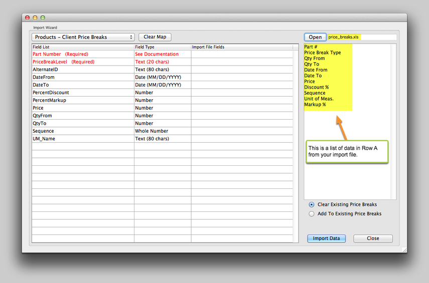 Map the fields from the import file.