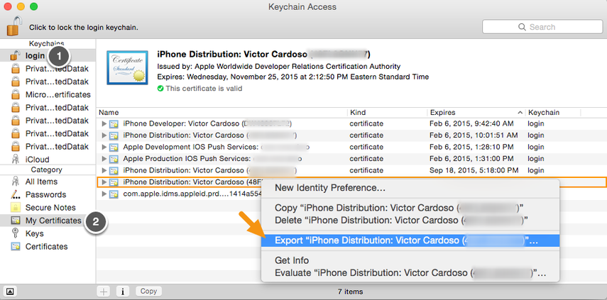 "In Keychain Access, select the certificate entry and right-click on it to select ""Export."""