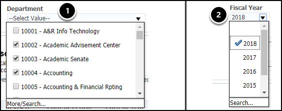 Filter drop-down menus