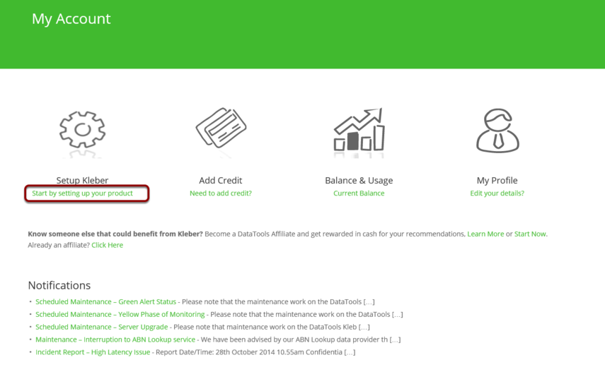Setup Kleber API