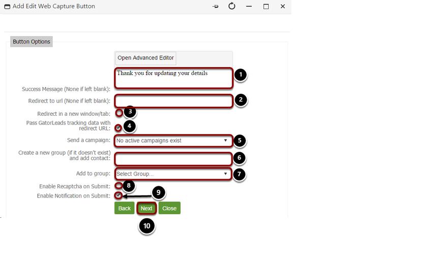 Insert web capture button details