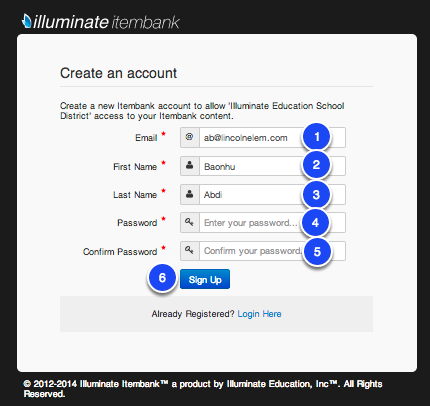 Sign up for an Itembank Account