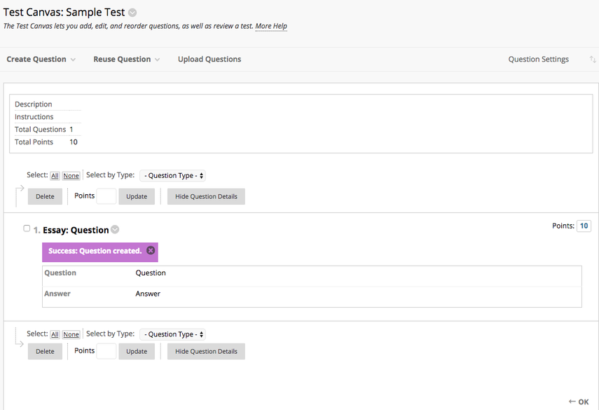 Test Canvas Overview