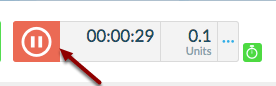 """c. Stop or Pause the timer by clicking the """"Pause"""" icon."""