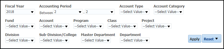 Revenue Expense Summary Filters